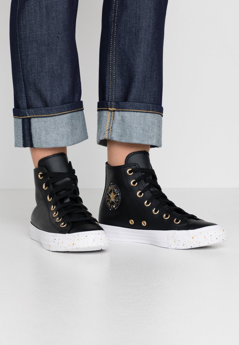 Converse - CHUCK TAYLOR ALL STAR SPECKLED - Sneakers alte - black/gold/white