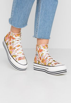 CHUCK TAYLOR ALL STAR LAYER BOTTOM - Sneakers alte - egret/vermilion red/field surplus