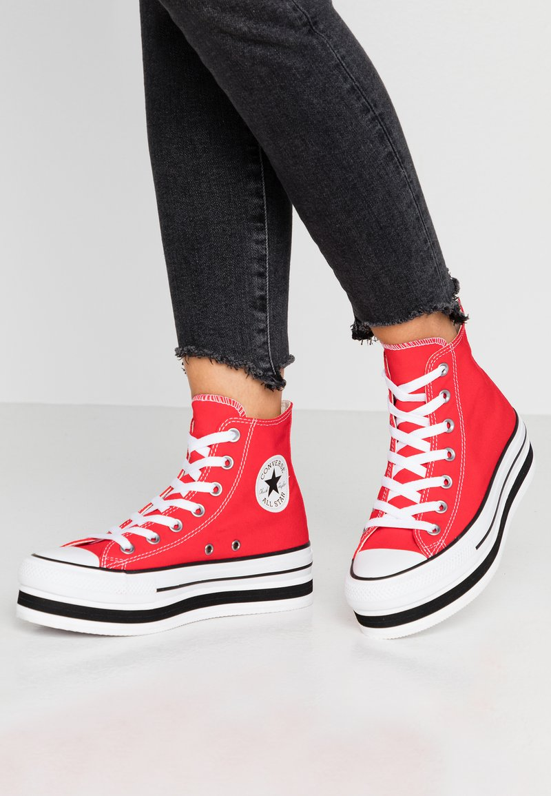Converse - CHUCK TAYLOR ALL STAR LAYER BOTTOM - Høye joggesko - university red/white/black