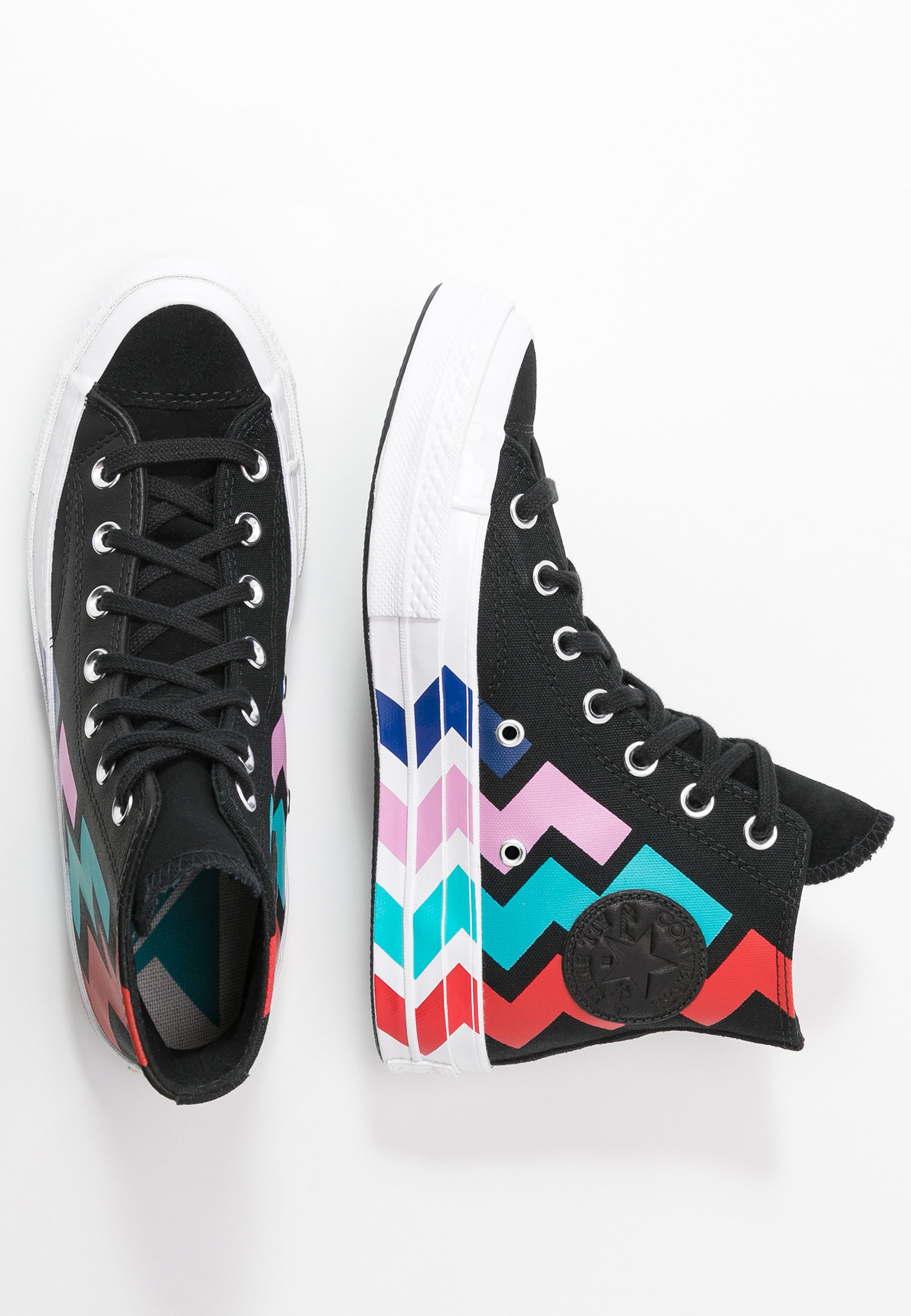 Converse CHUCK - Sneakersy wysokie - black/university red/peony pink