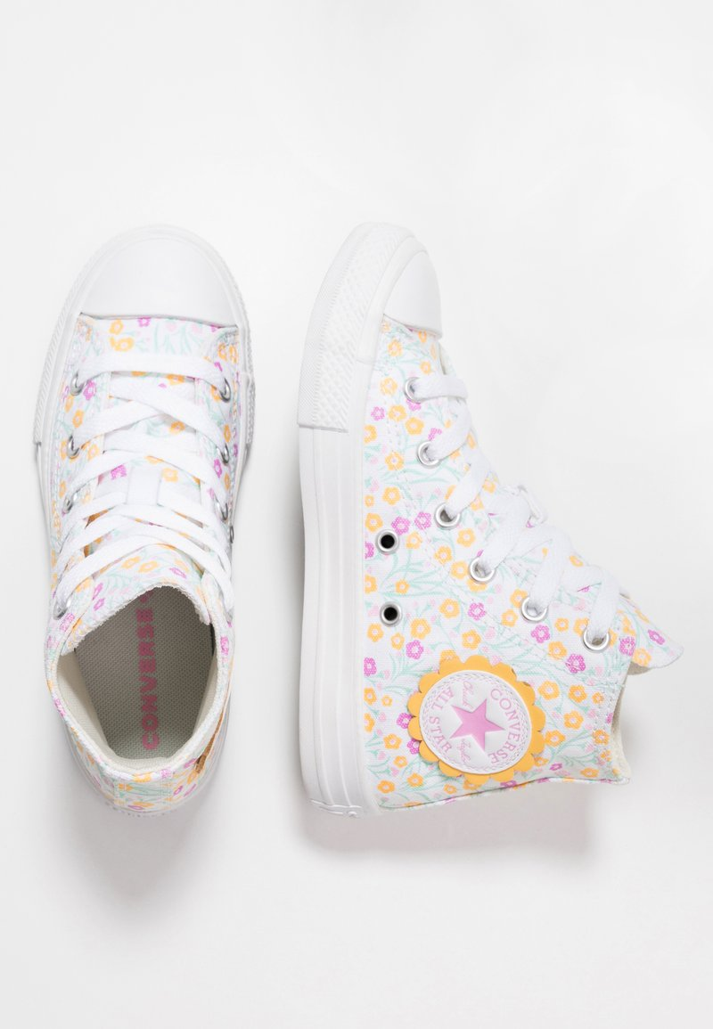 Converse - CHUCK TAYLOR ALL STAR FLORAL - Sneakers hoog - white/topaz gold/peony pink