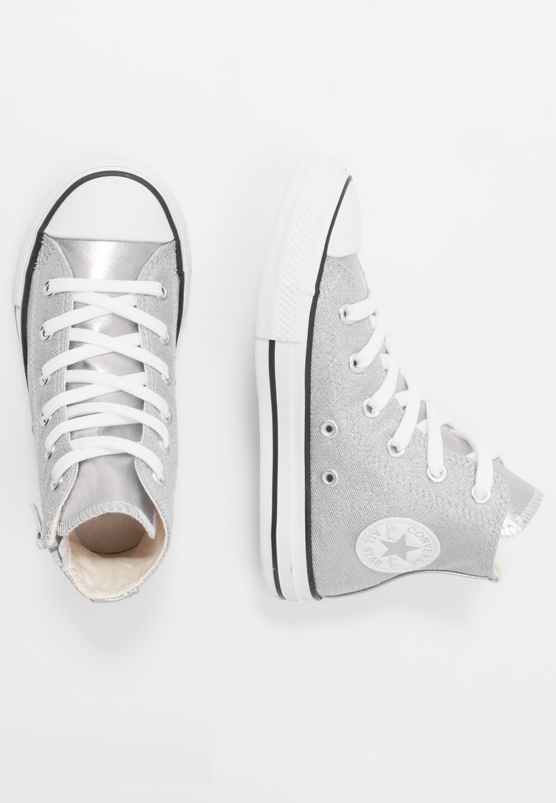 Converse - CHUCK TAYLOR ALL STAR SIDE ZIP - Sneakers alte - silver/white/mouse