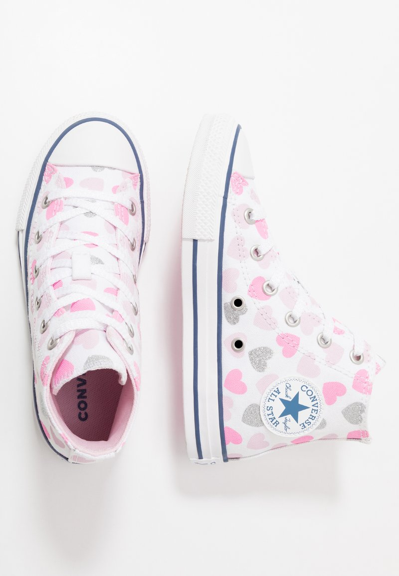 Converse - CHUCK TAYLOR ALL STAR HEARTSFALL  - Sneakers hoog - white/cherry blossom/silver