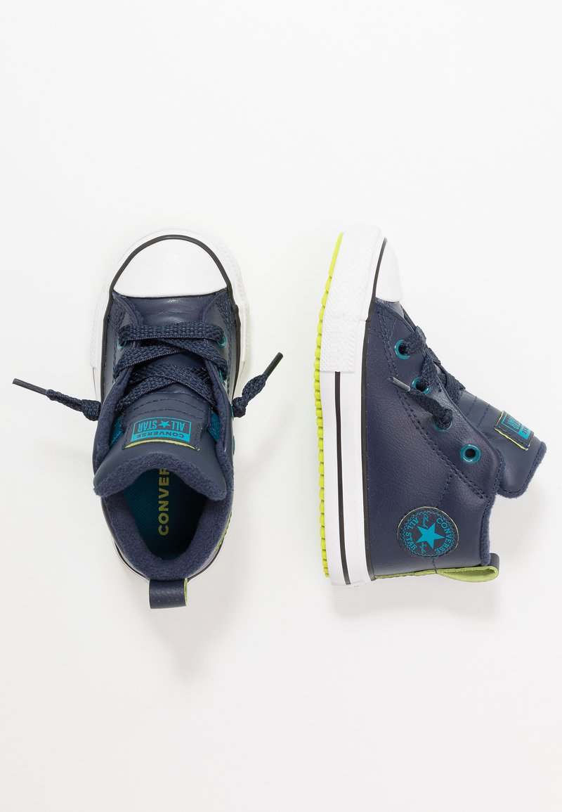 Converse - CHUCK TAYLOR ALL STAR STREET WARMTH - Sneakers high - obsidian/green abyss/bold lime