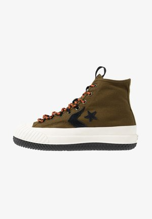 BOSEY MC WATER REPELLENT - High-top trainers - surplus olive/campfire orange/black