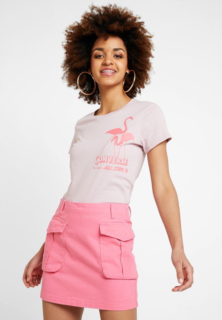 Converse - ICON GRAPHIC SLIM TEE - T-Shirt print - plum chalk