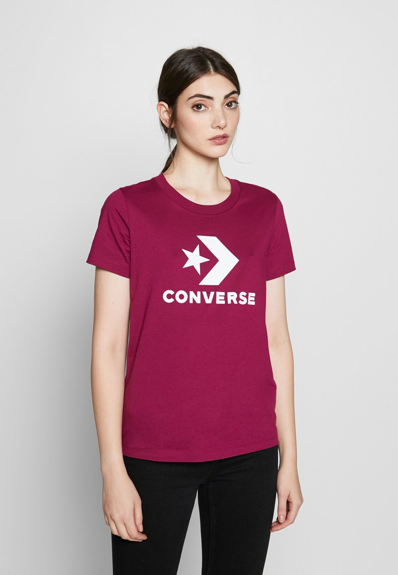 Converse - STAR CHEVRON TEE - T-shirt con stampa - rose maroon