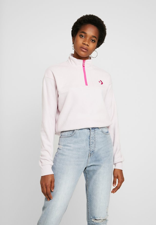 BLOCKED QUARTER ZIP CREW - Fleecepaita - barely rose