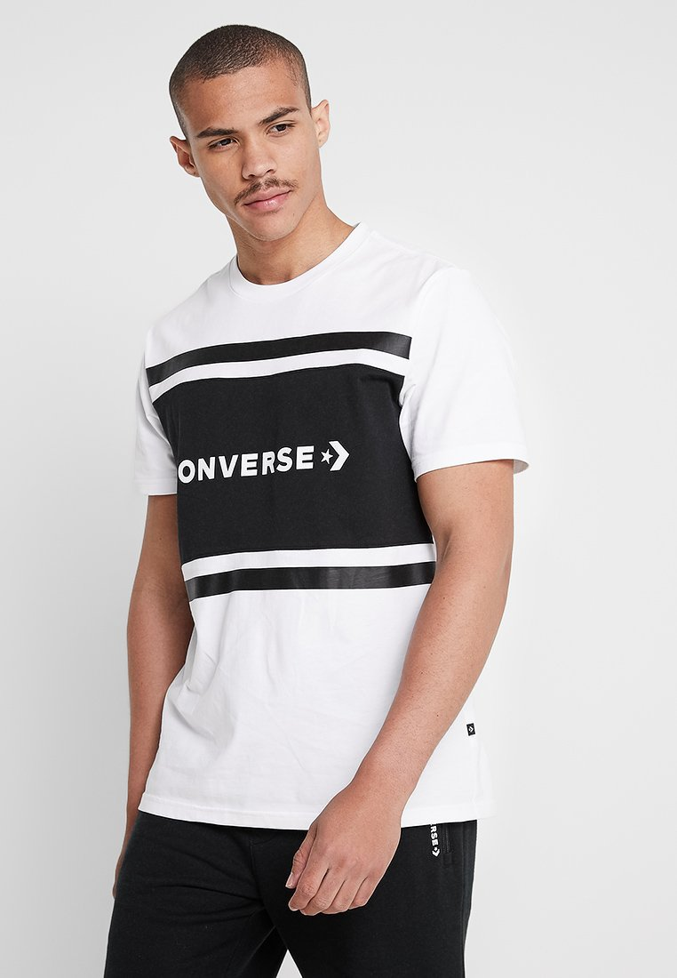 Converse - COLORBLOCK TEE - Camiseta estampada - white