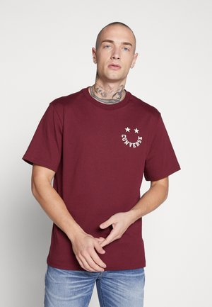 HAPPY FACE GRAPHIC TEE - T-shirt med print - dark burgundy