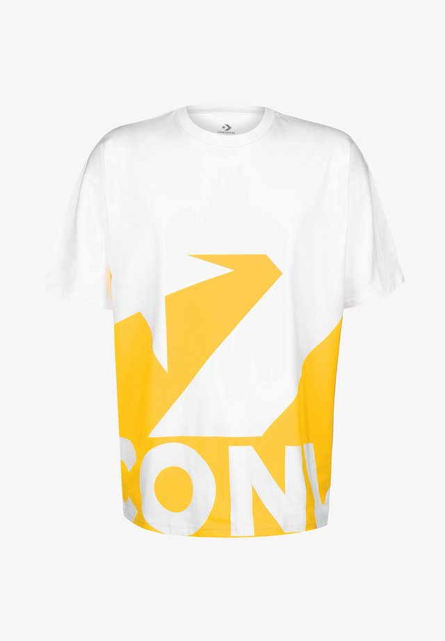 T-shirt print - white/yellow
