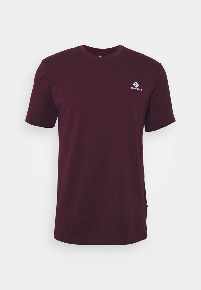 MENS EMBROIDERED STAR CHEVRON LEFT CHEST TEE - Camiseta básica - dark burgundy