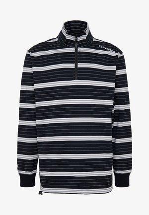 TWISTED VARSITY RUGBY HALF ZIP - Long sleeved top - black