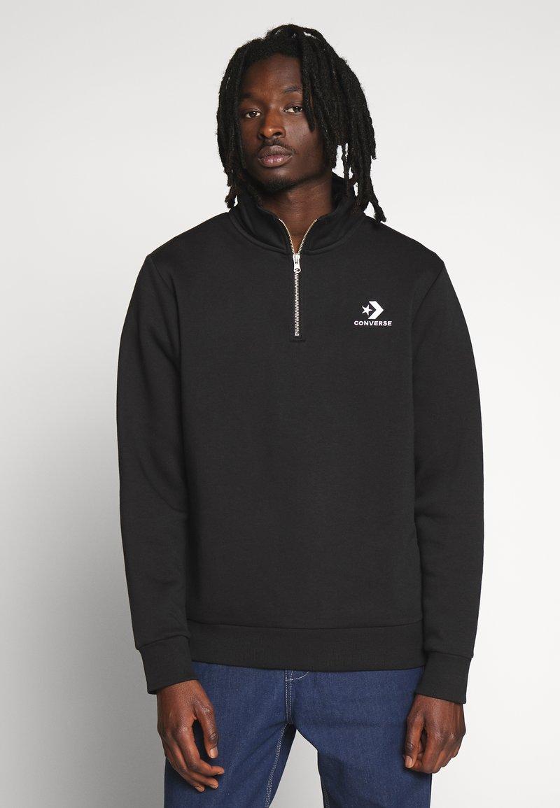 Converse - STAR CHEVRON EMBROIDERED HALF ZIP - Sweatshirt - black