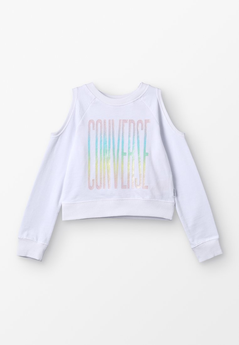 Converse - COLD SHOULDER CROPPED CREW - Sweatshirts - white