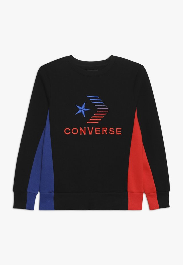 3D EMBRIODERED COLOURBLOCK CREW - Sweater - black