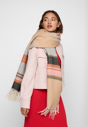 BLANKET STRIPED ETHNO PART - Scarf - camel