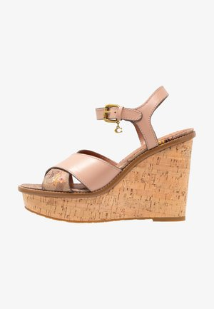 CROSS BAND WEDGE WITH SIGNATURE FLORAL BOW - Sandały na obcasie - tan/pale blush