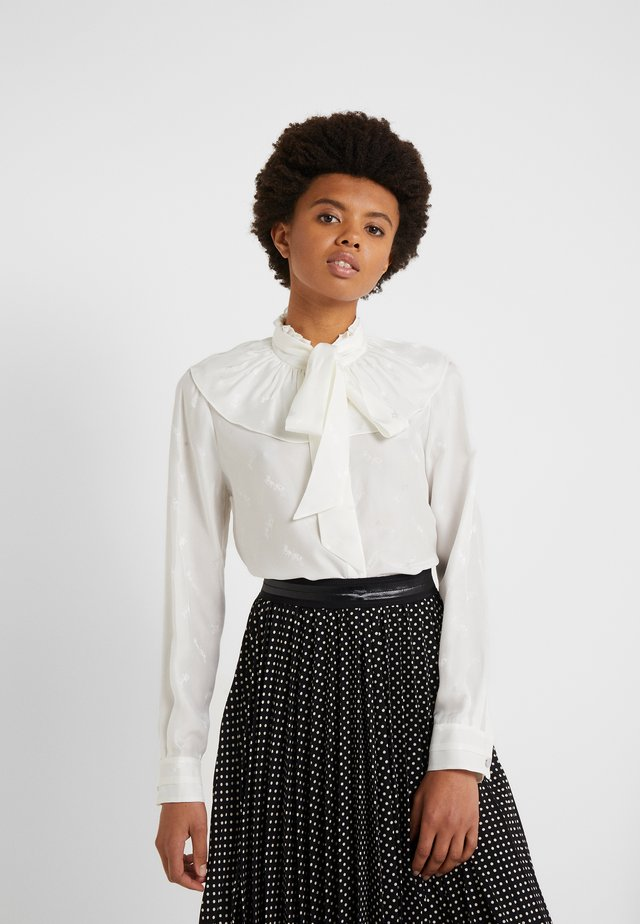 HORSE AND CARRIAGE GATHERED COLLAR BLOUSE - Bluser - white