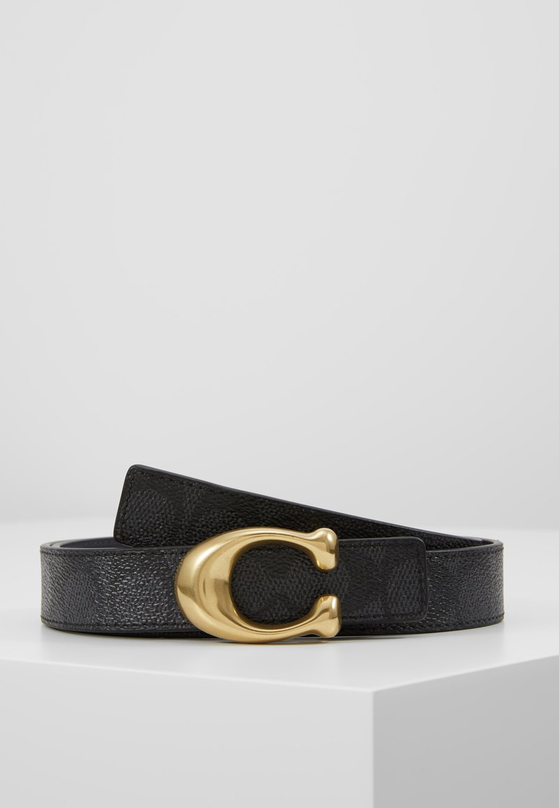 Coach - SCULPTED REVERSIBLE SIGNATURE BELT - Pásek - charcoal midnight navy