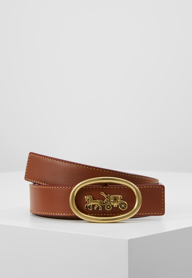Coach - HORSE AND CARRIAGE WIREFRAME BUCKLE BELT - Pásek - saddle black