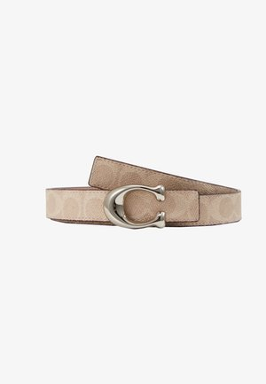SCULPTED COATED REVERSIBLE SIGNATURE BELT - Pasek - sand taupe
