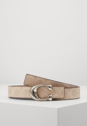 SCULPTED COATED REVERSIBLE SIGNATURE BELT - Pásek - sand taupe