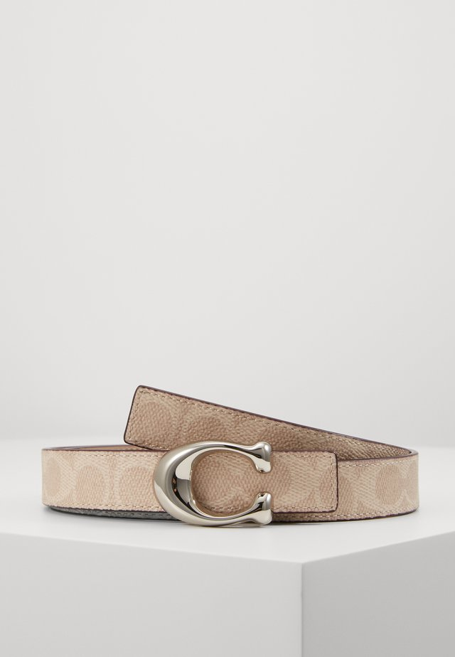 SCULPTED COATED REVERSIBLE SIGNATURE BELT - Vyö - sand taupe