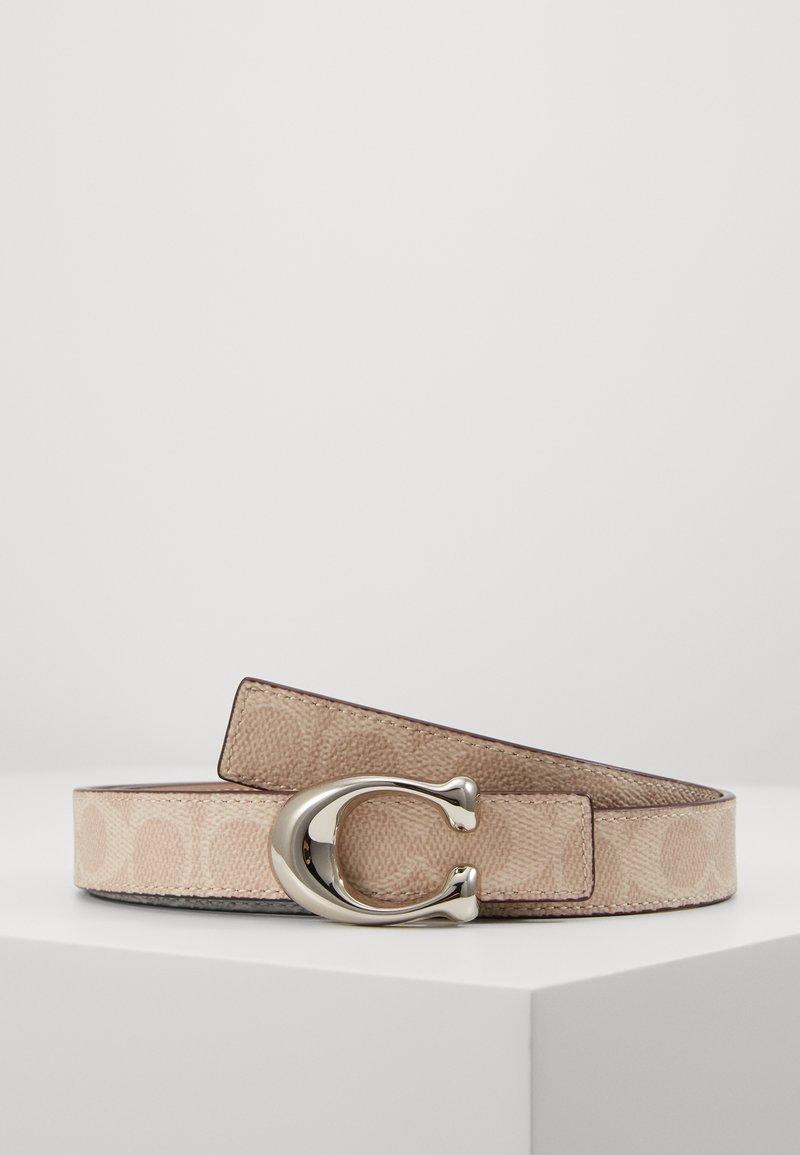 Coach - SCULPTED COATED REVERSIBLE SIGNATURE BELT - Pasek - sand taupe
