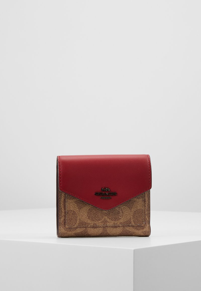 Coach - COLORBLOCK SIGNATURE SMALL WALLET - Geldbörse - tan/red apple