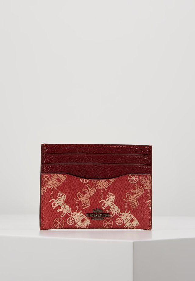 HORSE AND CARRIAGE FLAT CARD CASE - Business card holder - red deep red