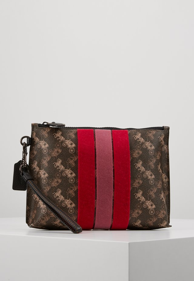 HORSE AND CARRIAGE VARSITY STRIPE CHARLIE POUCH - Trousse - brown black