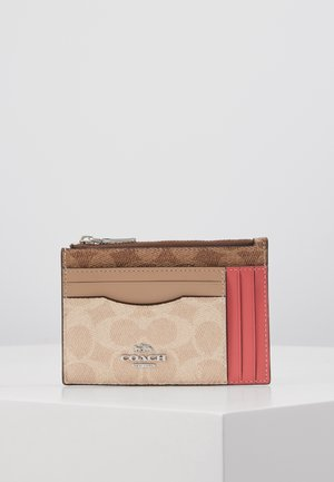 SIGNATURE BLOCK LARGE FLAT CARD CASE - Wallet - tan/sand/orchid