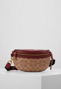 Coach - COATED SIGNATURE FANNY PACK - Ledvinka - tan/deep red - 0