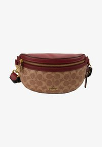 Coach - COATED SIGNATURE FANNY PACK - Ledvinka - tan/deep red - 5