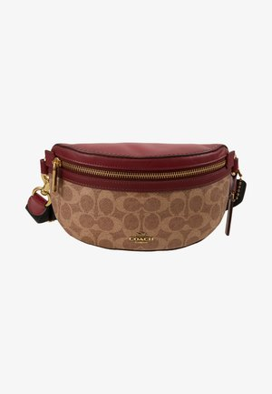 COATED SIGNATURE FANNY PACK - Ledvinka - tan/deep red