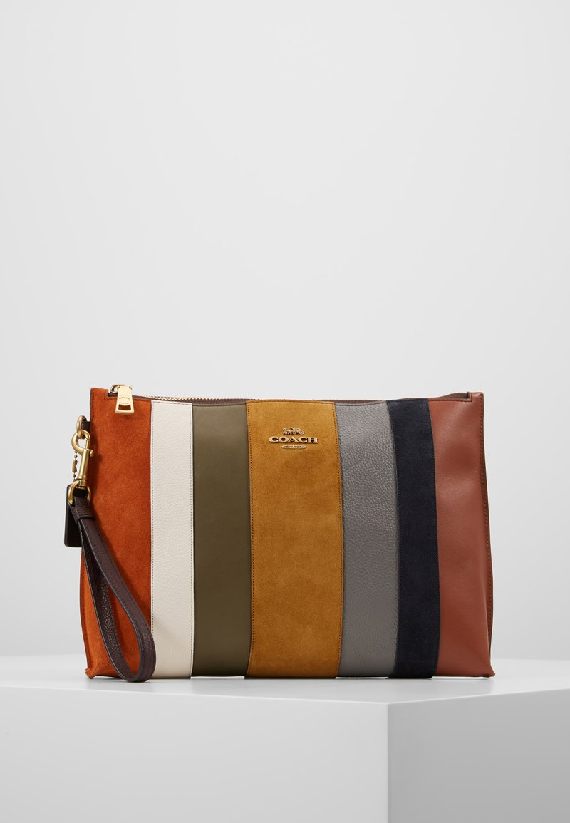 Coach - PATCHWORK STRIPES LARGE CHARLIE POUCH - Clutch - oxblood/multi