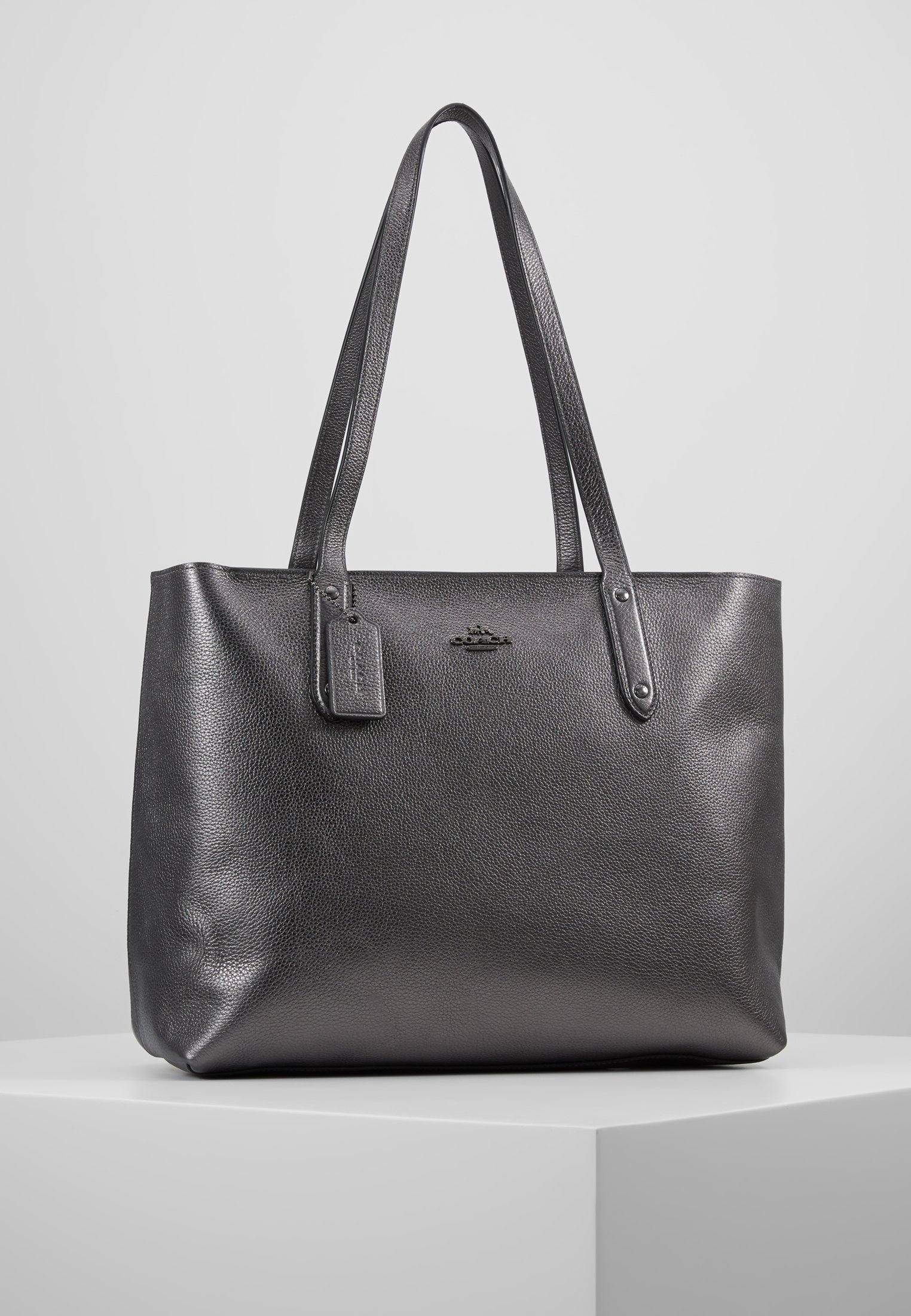 Bag Tote Metallic Central Coach ZipShopping With Graphite Nvnw80mO