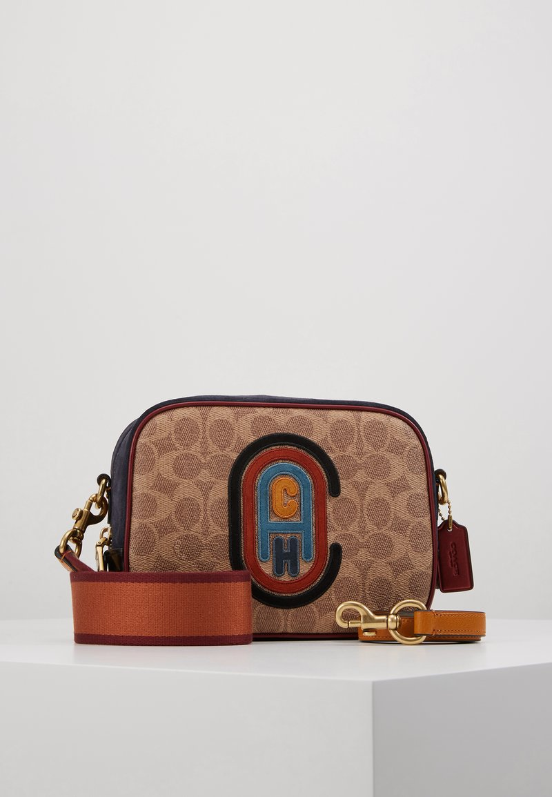 Coach - SIGNATURE PATCH CAMERA BAG - Across body bag - tan/black/multi