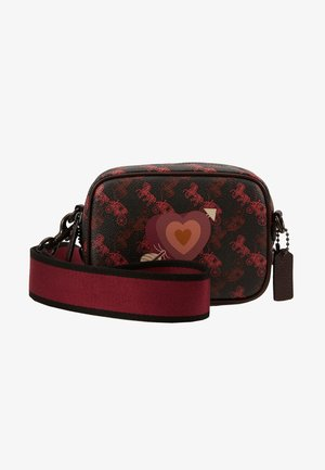 HORSE AND CARRIAGE COATED HEART CAMERA BAG - Across body bag - black oxblood