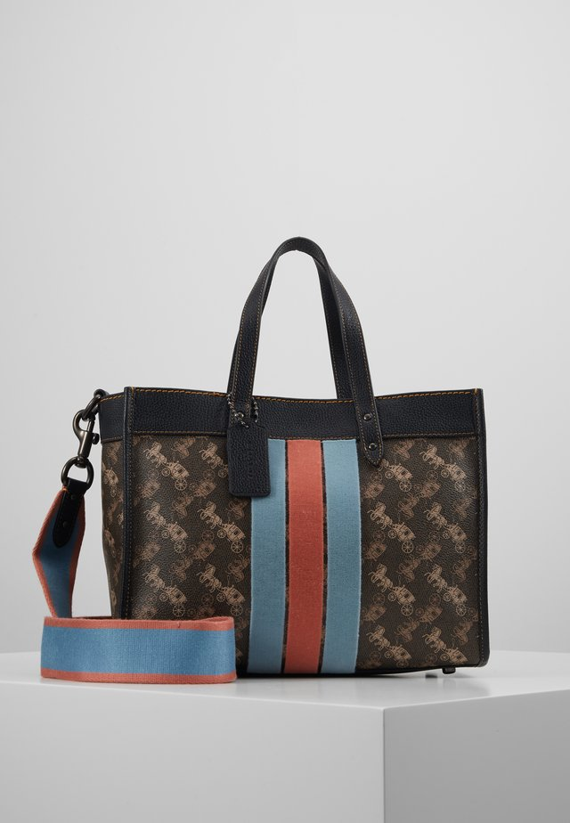 HORSE AND CARRIAGE VARSITY STRIPE FIELD TOTE - Handtasche - brown/black