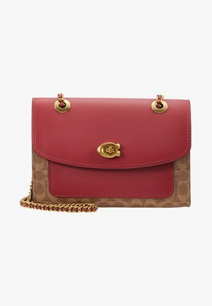COATED SIGNATURE WITH POCKET PARKER SHOULDER BAG - Borsa a mano - tan/dusty pink