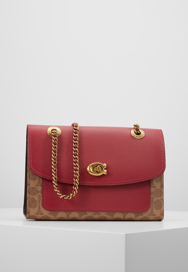 Coach - COATED SIGNATURE WITH POCKET PARKER SHOULDER BAG - Borsa a mano - tan/dusty pink