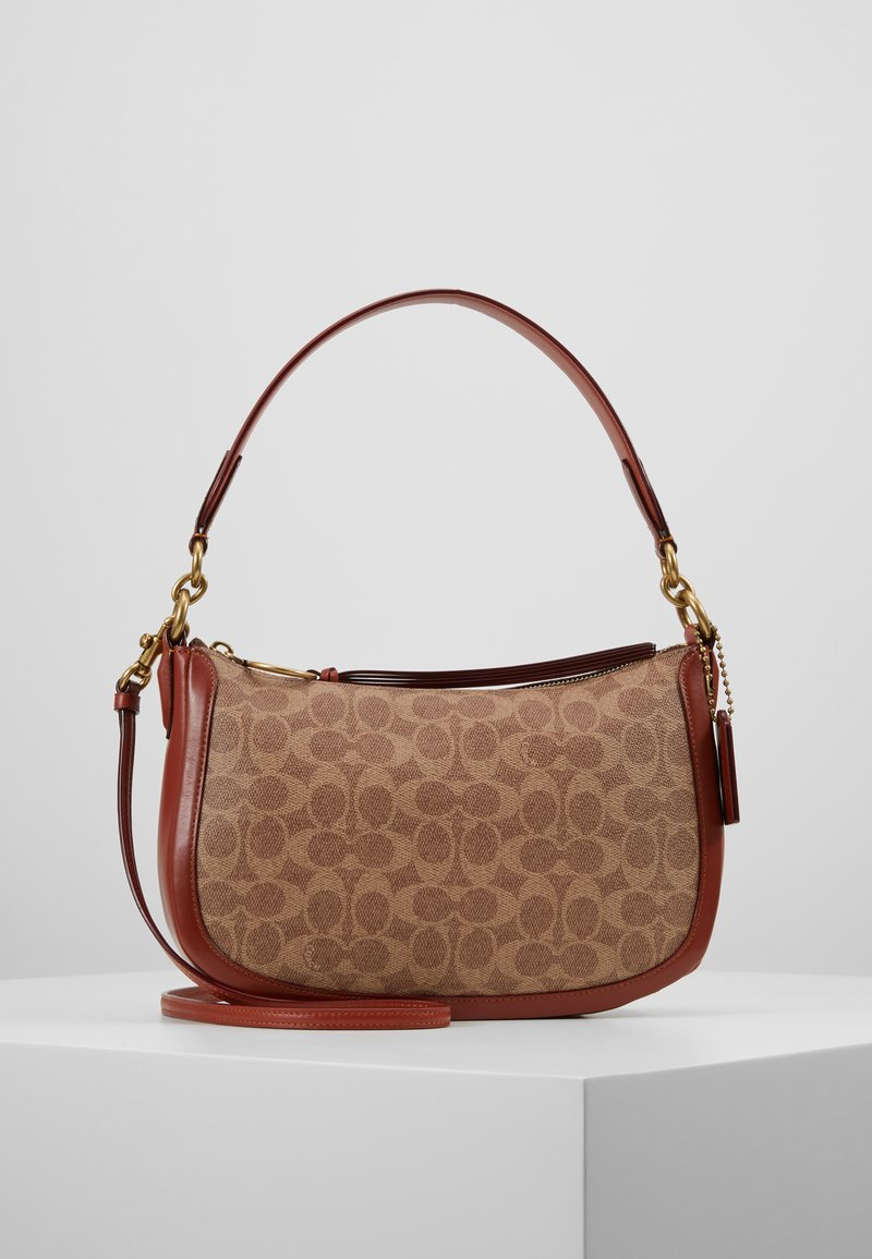 Coach - COATED SIGNATURE SUTTON CROSSBODY - Taška s příčným popruhem - tan rust