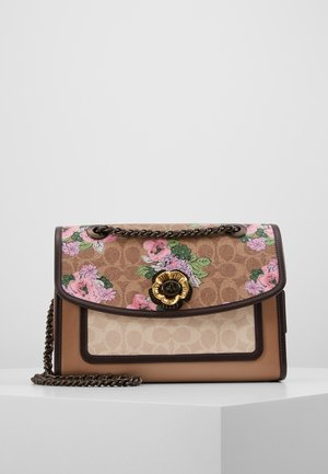 COATED CANVAS SIGNATURE BLOCK BLOSSOM PRINT SOFT PARKER SHOULDER - Handbag - tan sand print