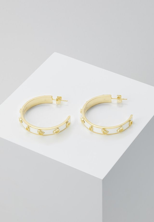 PEGGED ENAMEL HOOP - Earrings - gold-coloured/chalk