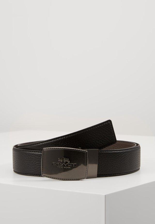 STITCHED PLAQUE BELT - Cintura - black/mahogany