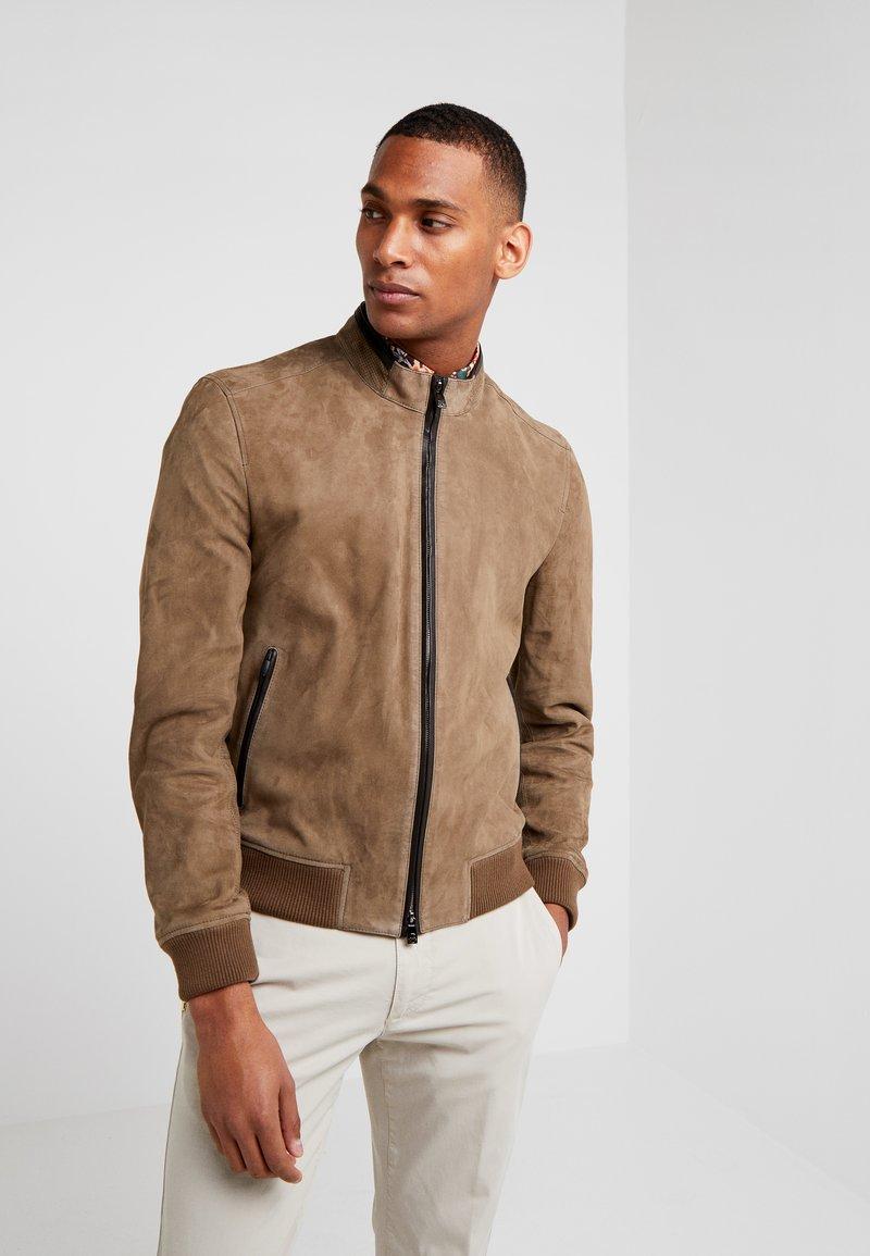 CORNELIANI - Leather jacket - beige