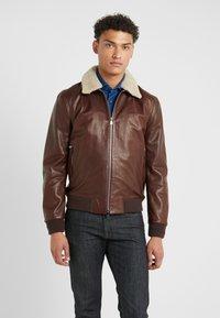 CORNELIANI - Leather jacket - bordeaux - 0