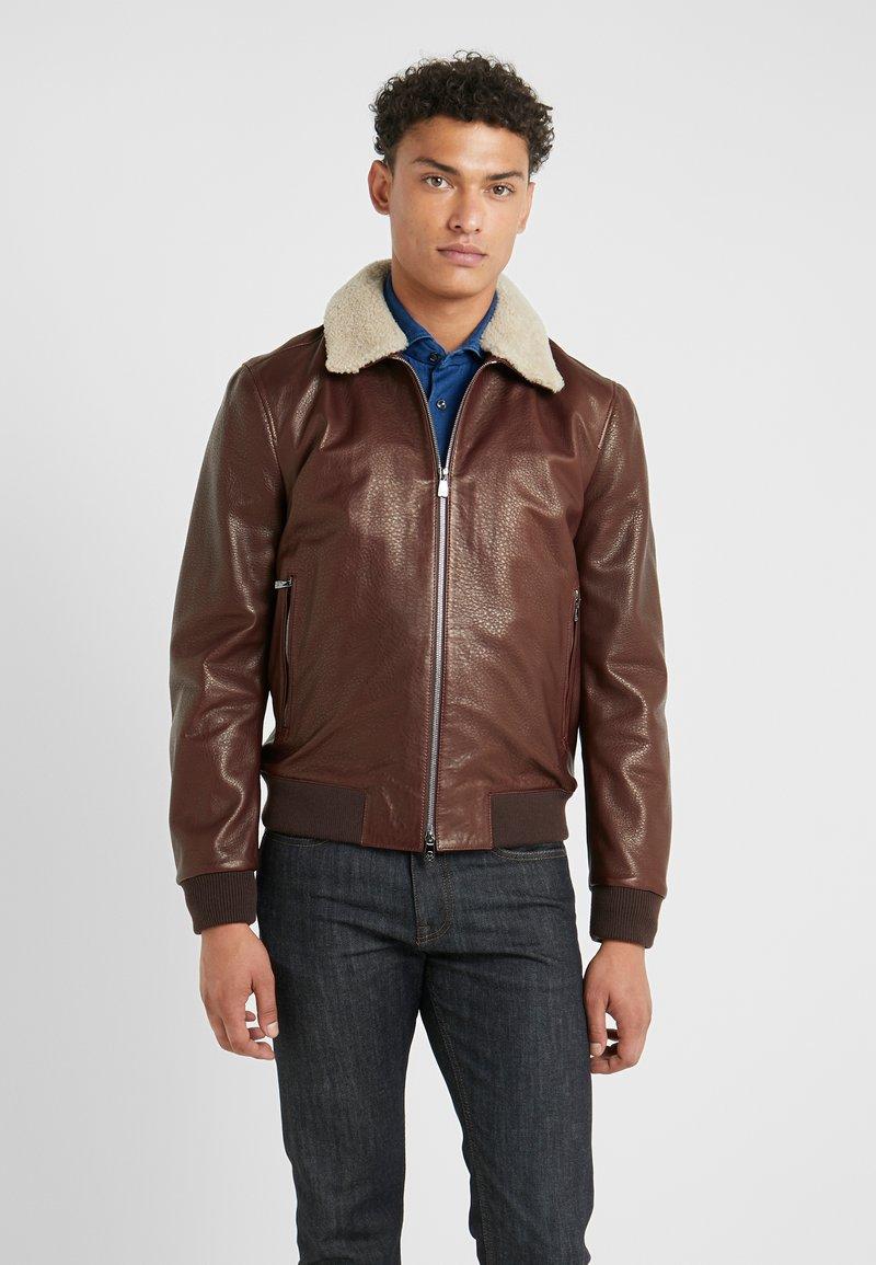 CORNELIANI - Leather jacket - bordeaux
